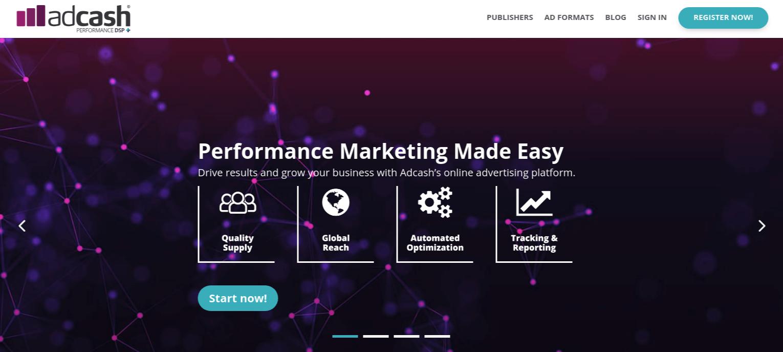 Adcash Website Screenshot