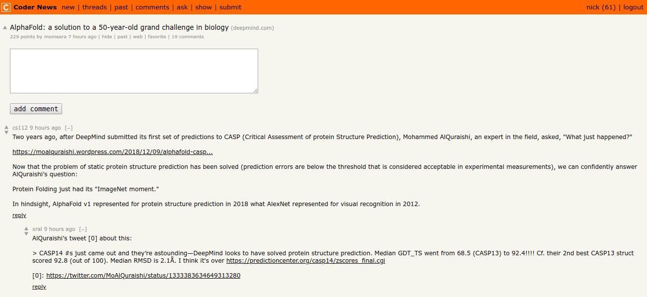 Coder News Demo Item Page Screenshot