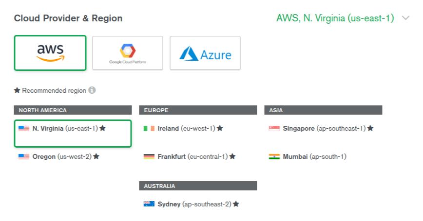MongoDB Atlas Choose Server's Provider & Region