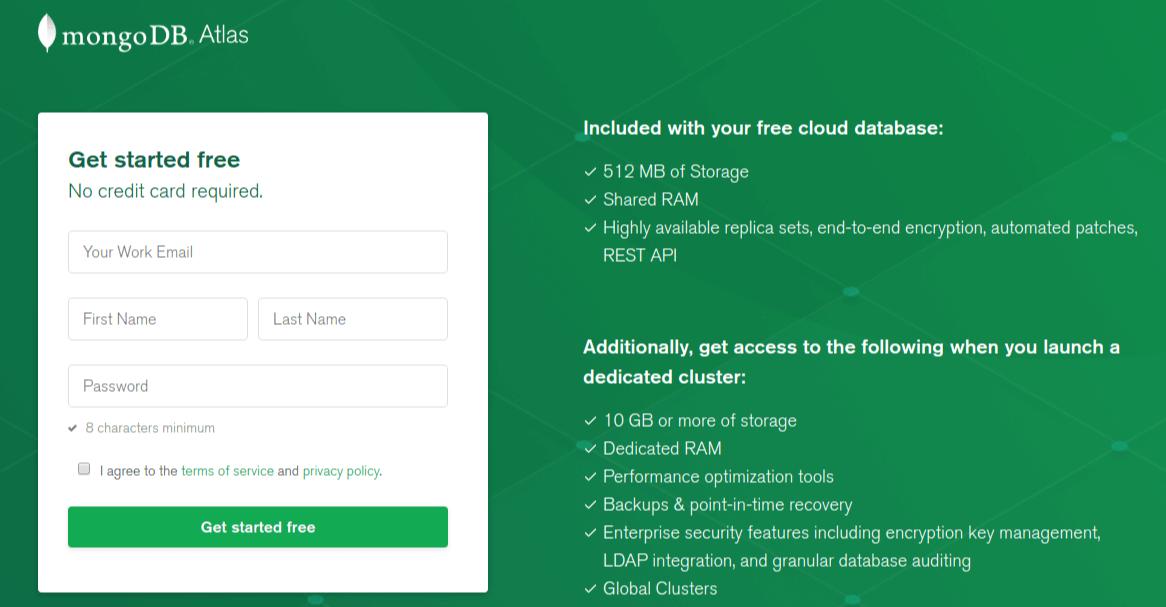 MongoDB Atlas Signup Page