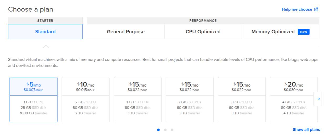 DigitalOcean Create Droplet Page - Choose Pricing Plan