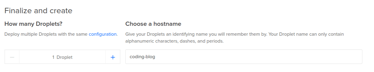 DigitalOcean Create Droplet Page - Choose a Name For the Server