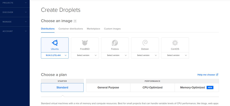 DigitalOcean Create Droplet Page
