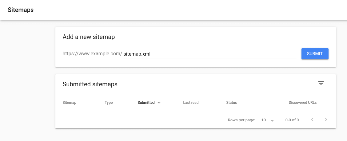 Google Search Console - Submit Sitemap