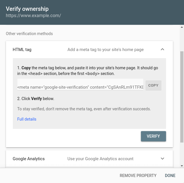 Google Search Console - Create a New Property