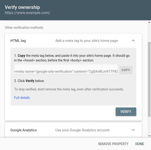 Google Search Console - Verify Property
