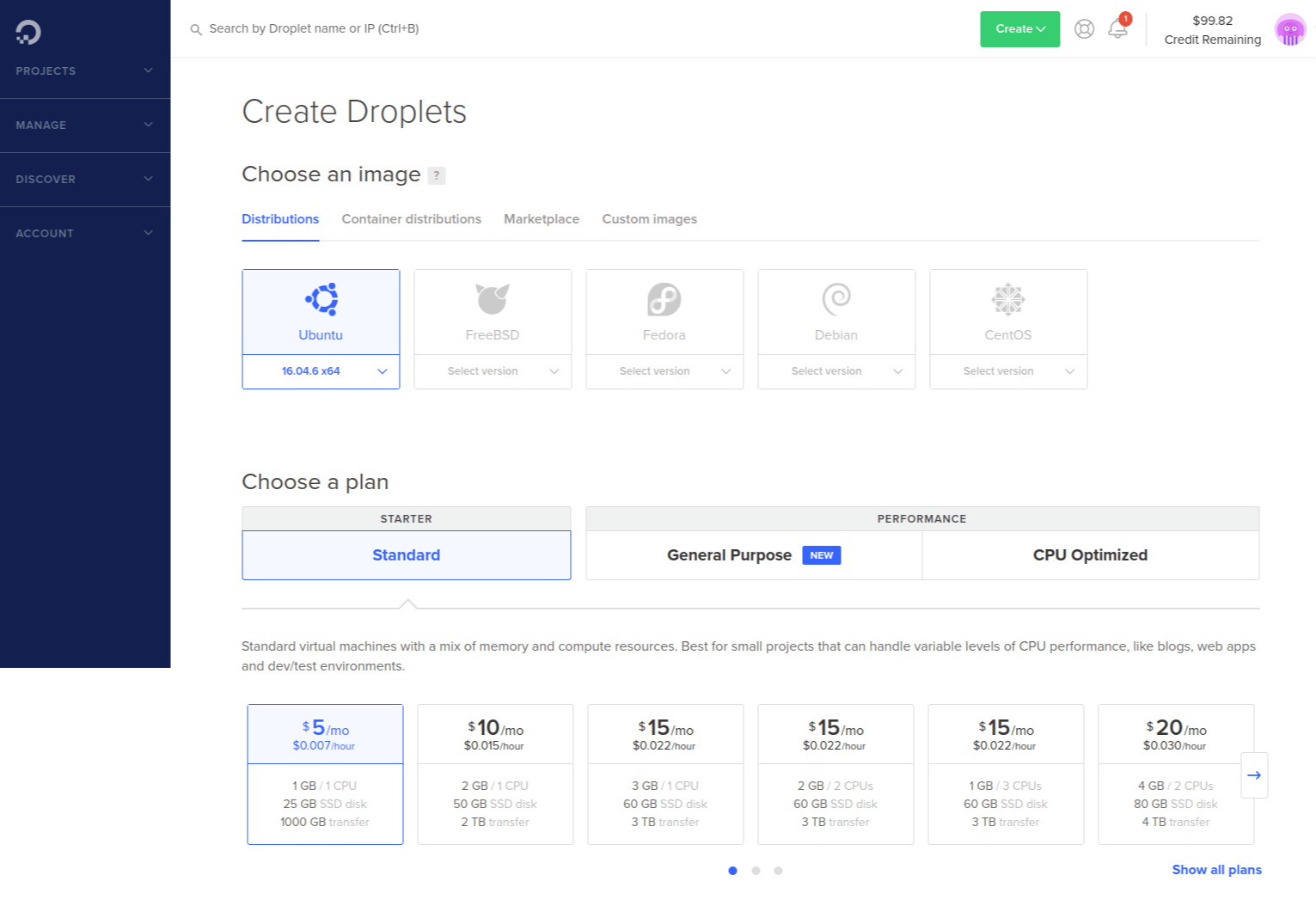 Create new droplet form page on DigitalOcean