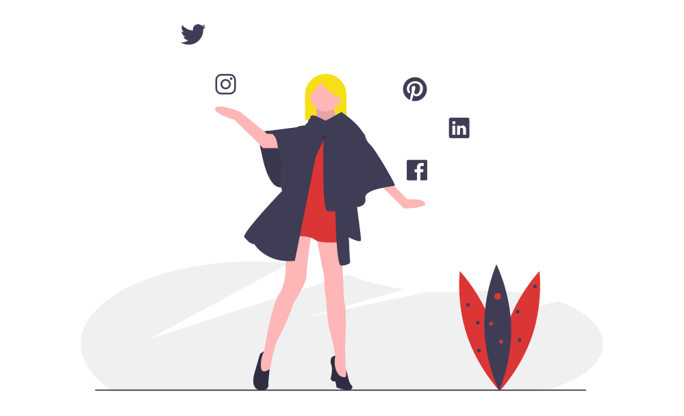 Illustration of a woman and floating social media icons.