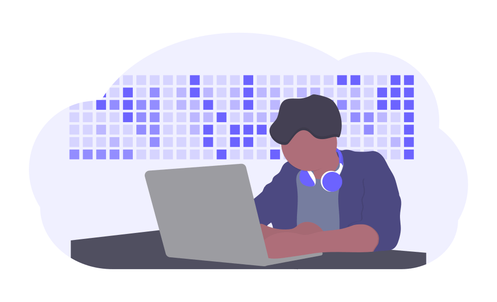 Illustration of a software developer working at a desk with headphones on.