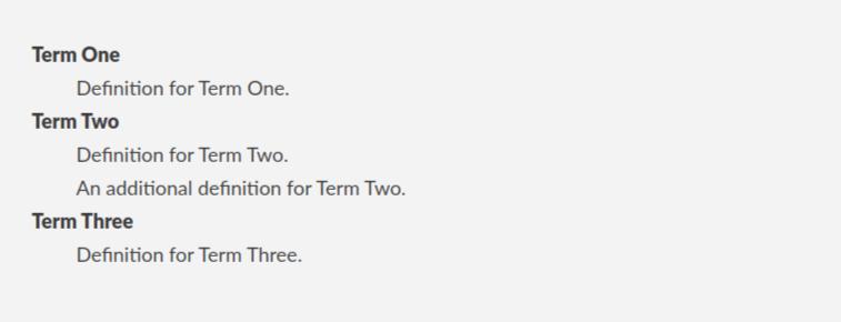 Markdown Rendered Definition List