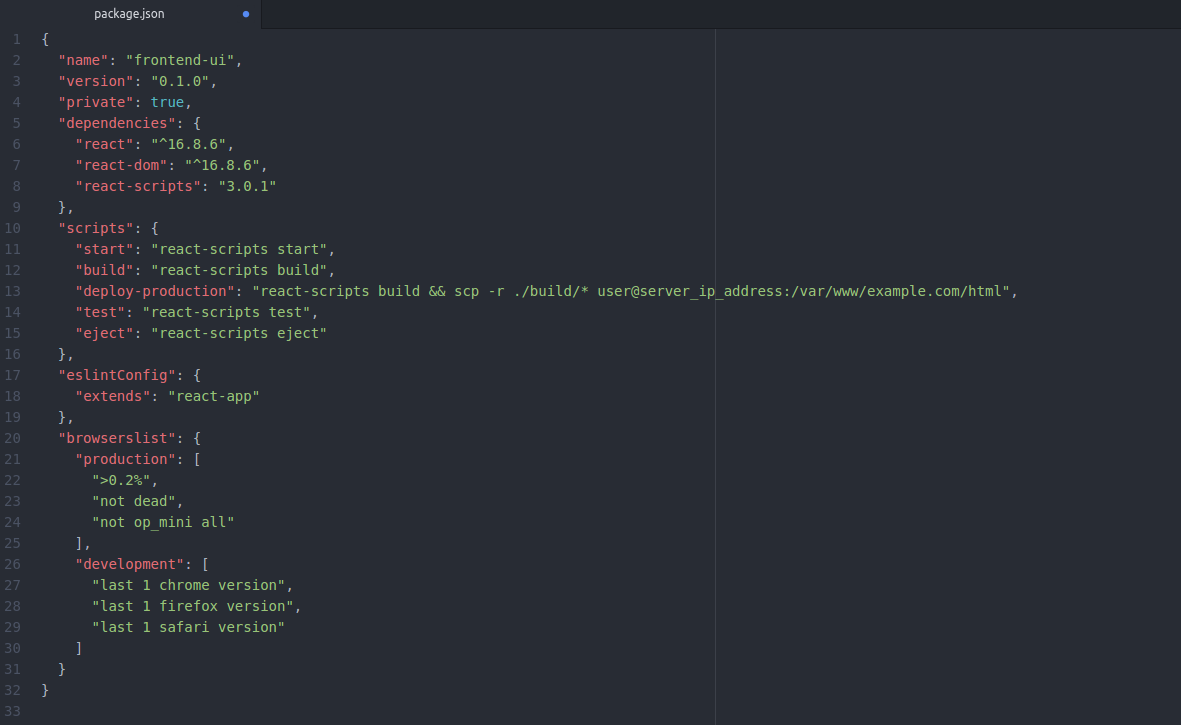 Package.json file viewed in text editor.