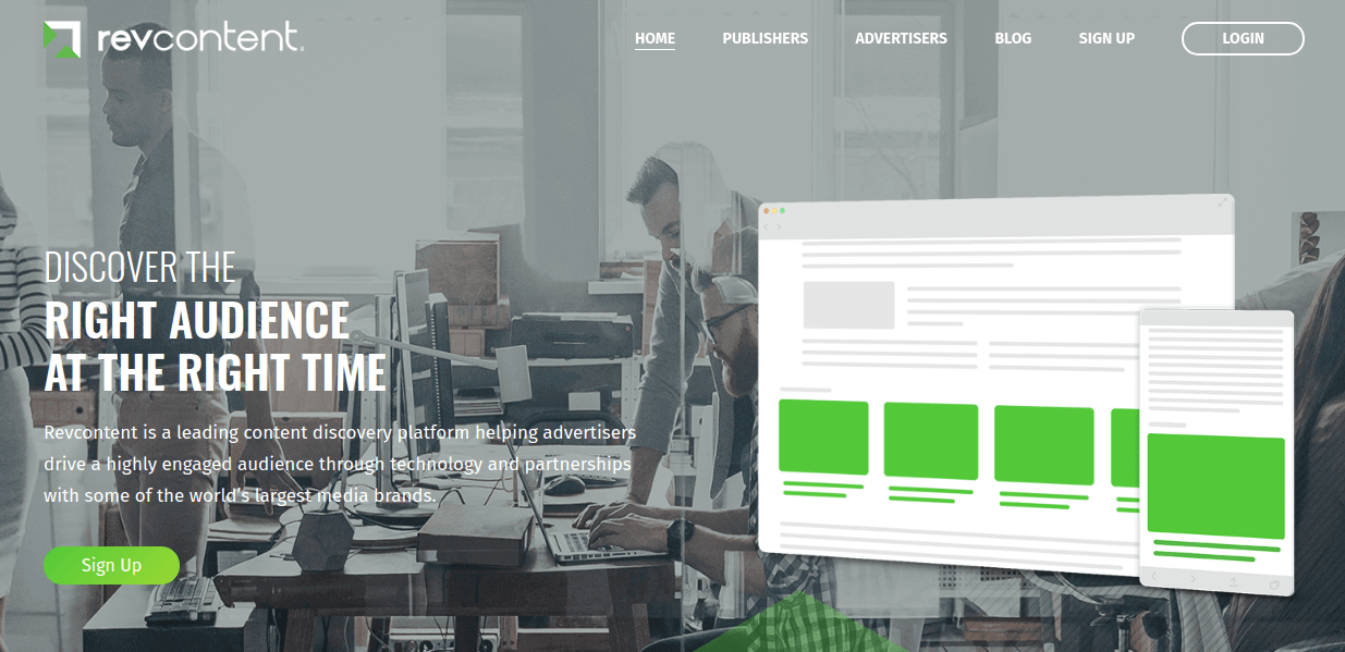 Revcontent Website Screenshot