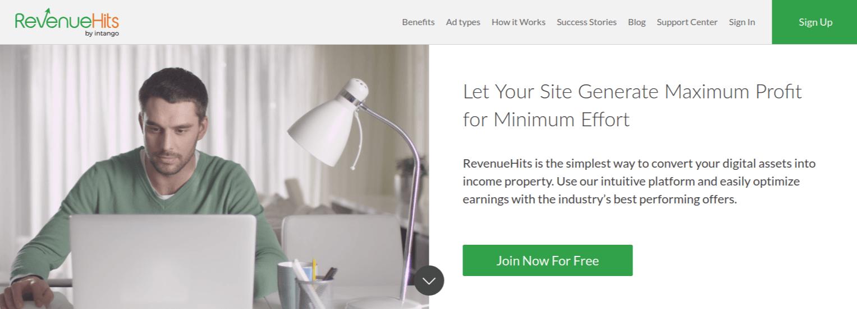 RevenueHits Homepage Screenshot