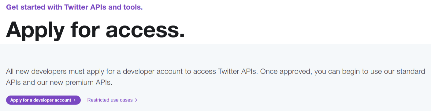Twitter Developer Apply for Access