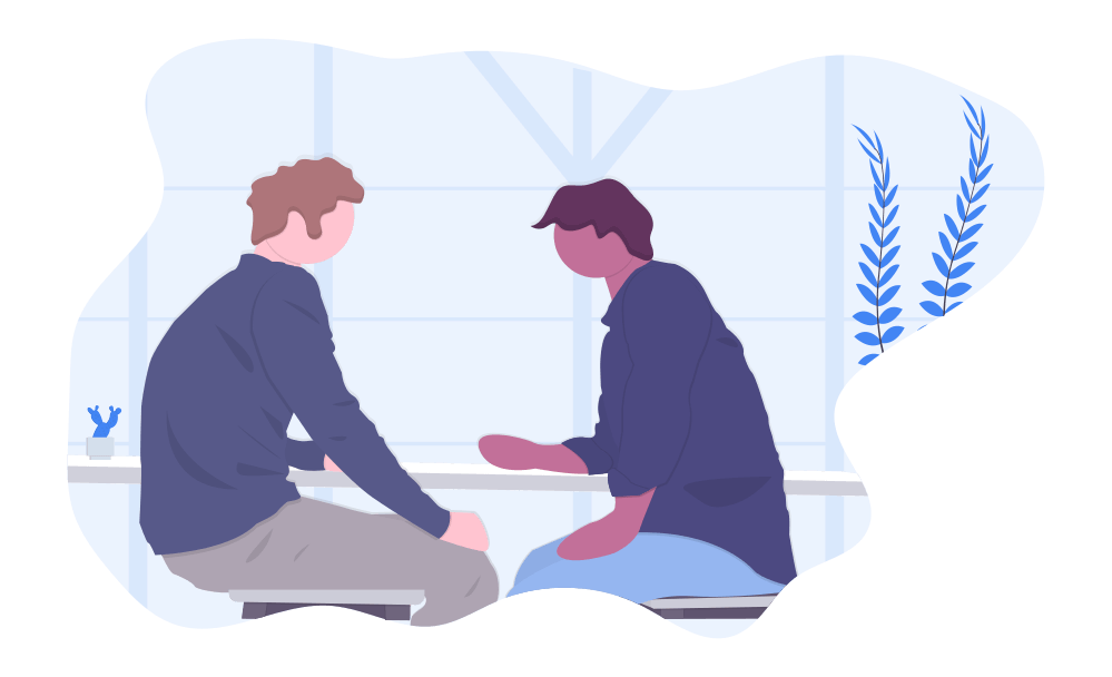 Illustration of a two men having a conversation.