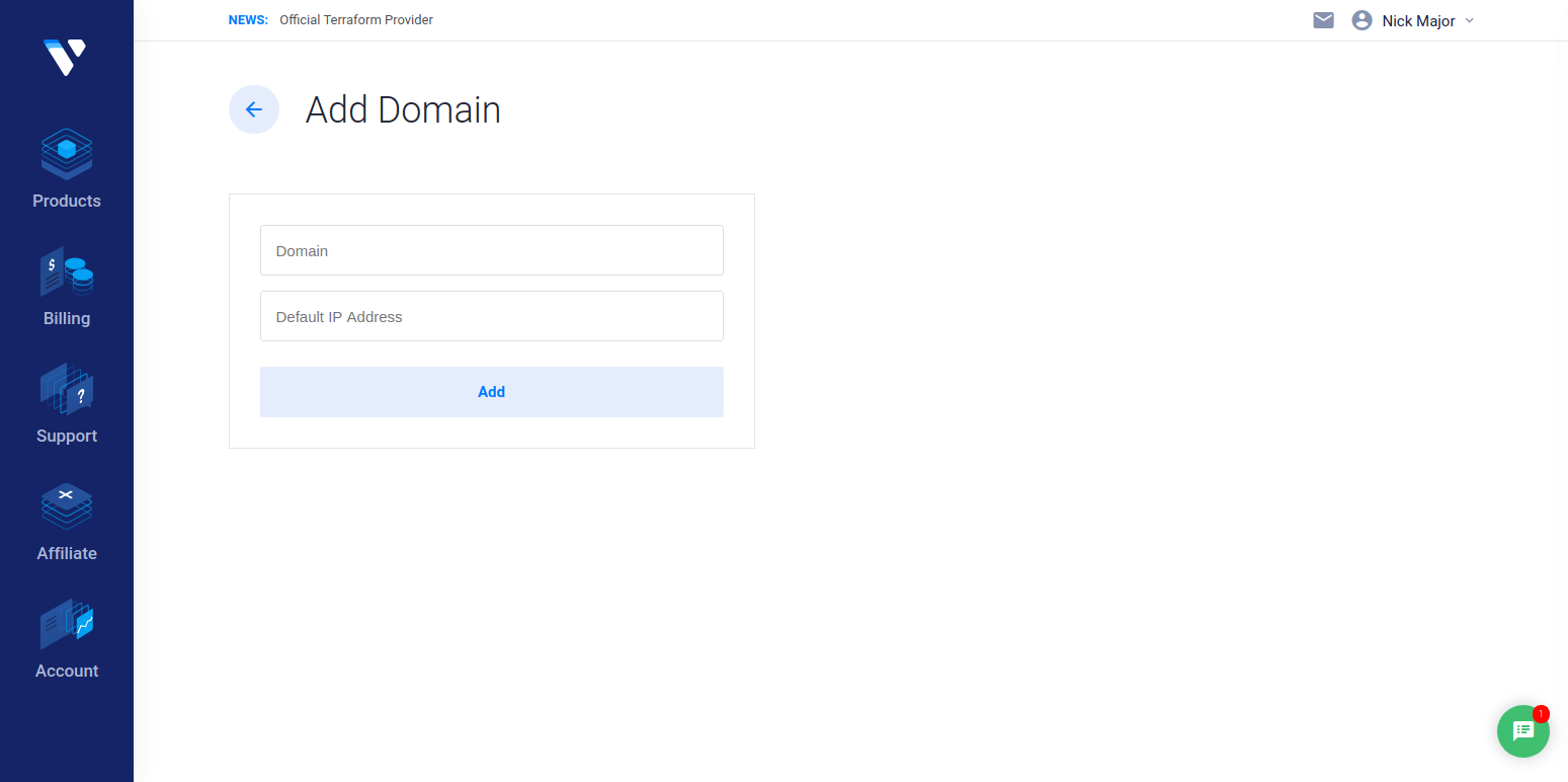 Vultr Add Domain Page Screenshot