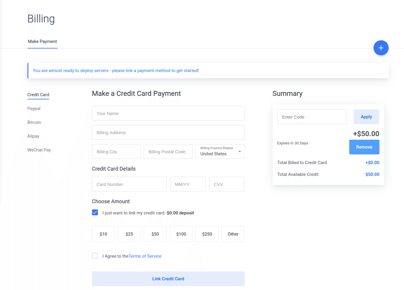 Vultr Billing Page