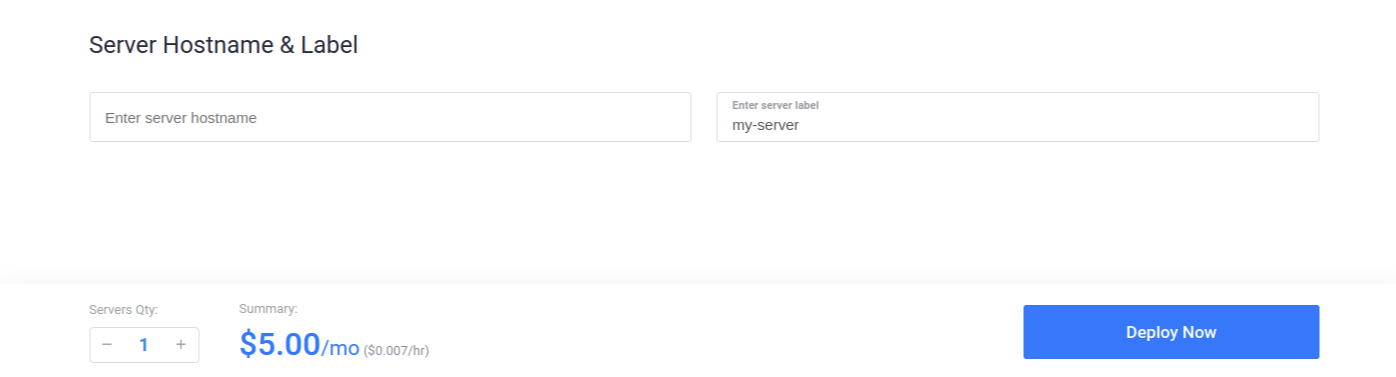 Vultr Deploy Server Name & Submit