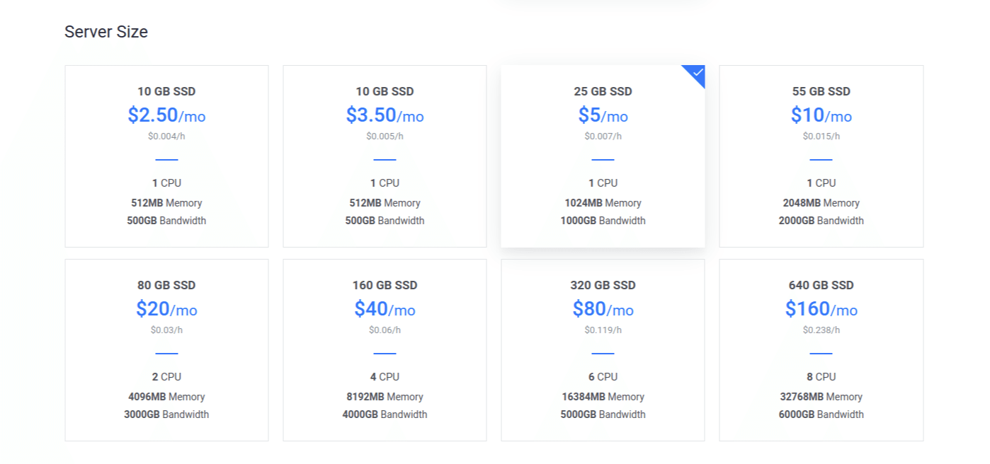 Vultr Deploy Server Select Size