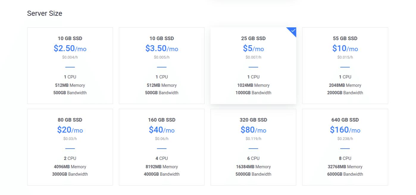 Vultr Deploy Server Size