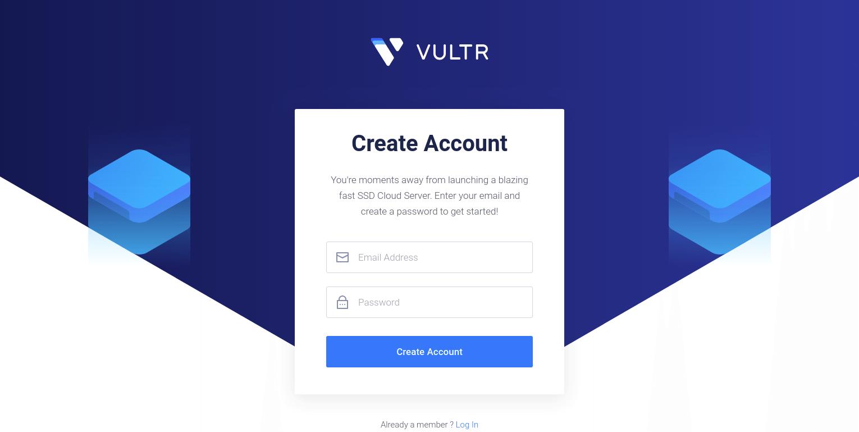 Vultr Website Signup Page Screenshot